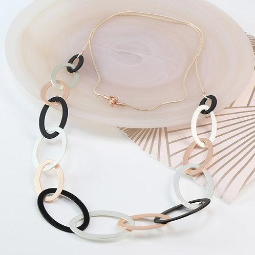 POM Mixed metallic linked hoop long necklace with matt finish