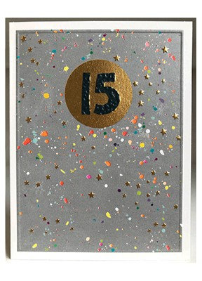 Gold Metallic & Paint Spatter '15' Card