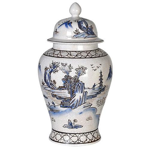 Blue Oriental Style Ginger Jar