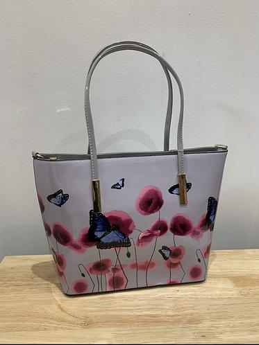 Floral Patent Tote Bag