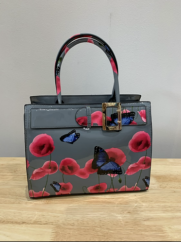 Flora Patent Buckle Tote Bag