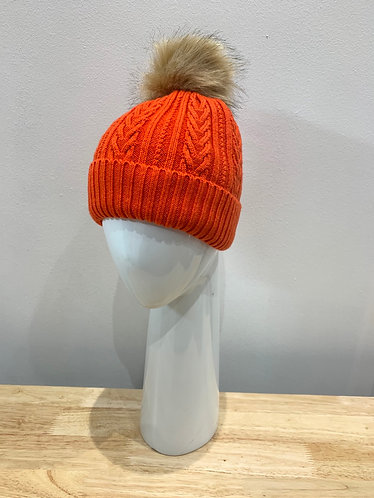 POM - Orange Cable Knit Lined Pom-Pom Hat