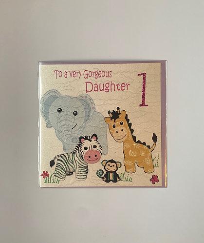 White Cotton - Gorgeous Daughter '1' Card