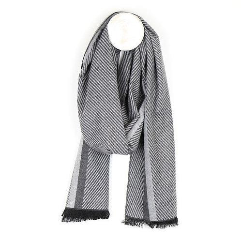 POM - Men's Striped Herringbone Soft Scarf (Grey)