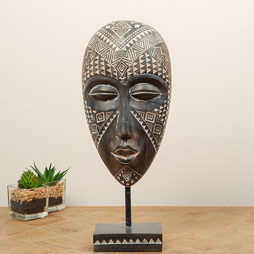 ORNATE AFRICAN TRIBAL MASK WITH STAND - MEDIUM