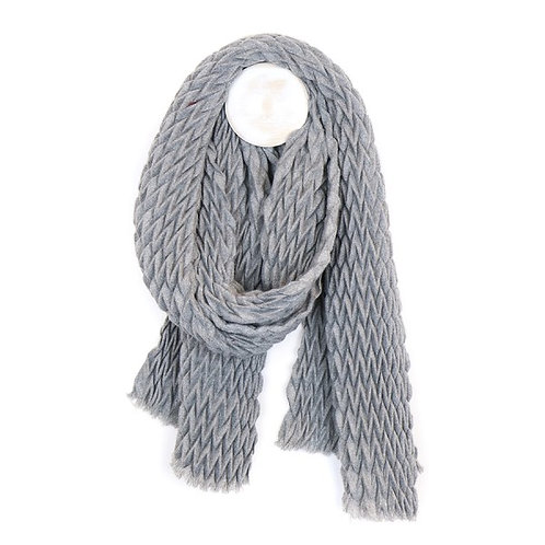 POM Mid grey soft scarf with zig-zag pleated texture