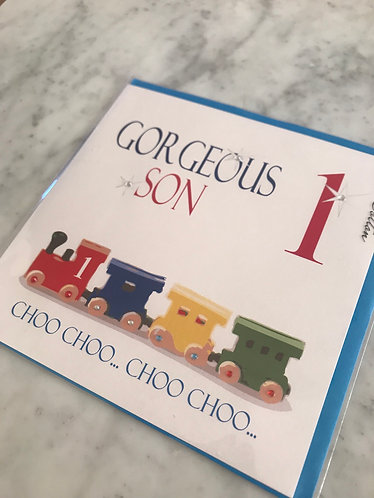 White Cotton - Gorgeous Son '1' Train Card