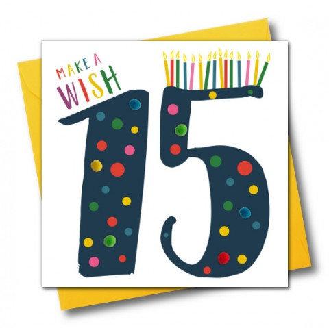 Blue 15 Make a Wish Card