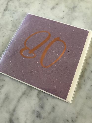 Purple Glitter '80' Card