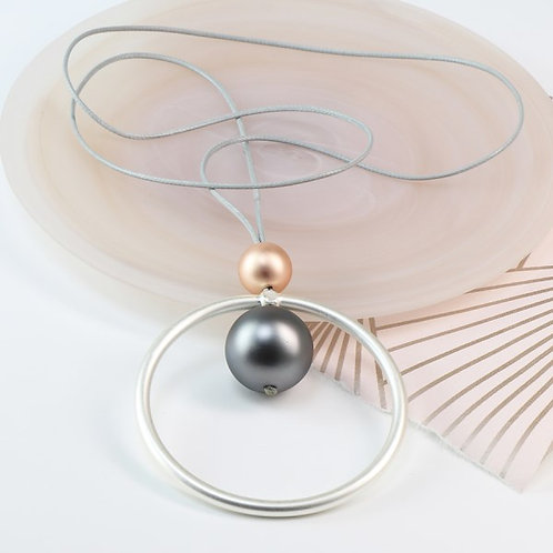 POM Silver plated matt hoop and double bead necklace