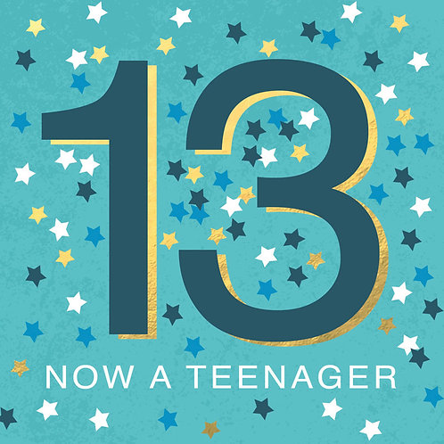 Blue 13 Now a Teenager Card