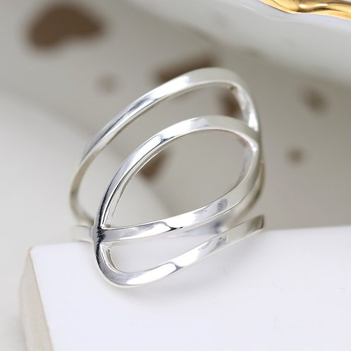 POM - Sterling silver ring with fine double ellipse design