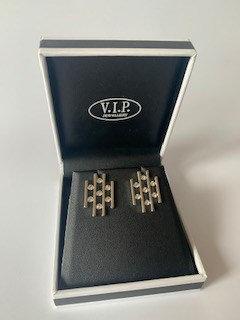 VIP Silver Lattice Stud Earrings