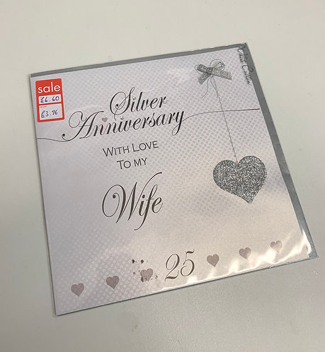White Cotton - Wife Silver Anniversary (Large Card)