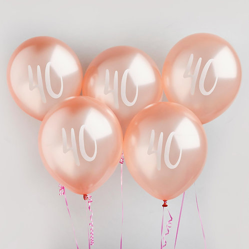Rose Gold Number 40 Balloons
