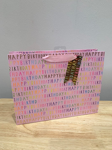 Glick - Medium Pink Happy Birthday Tote Gift Bag