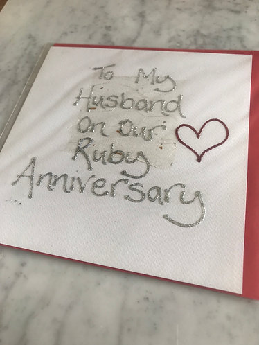 Husband on Our Ruby Anniversary (Large Card)