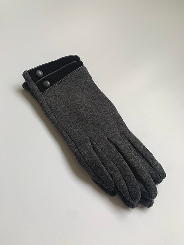 POM - Lined Cotton Glove with Contrast Button Trim