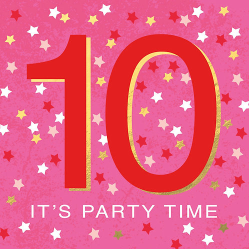 Pink '10' It's Party Time Birthday Card