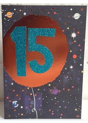 Blue Glitter '15' Card