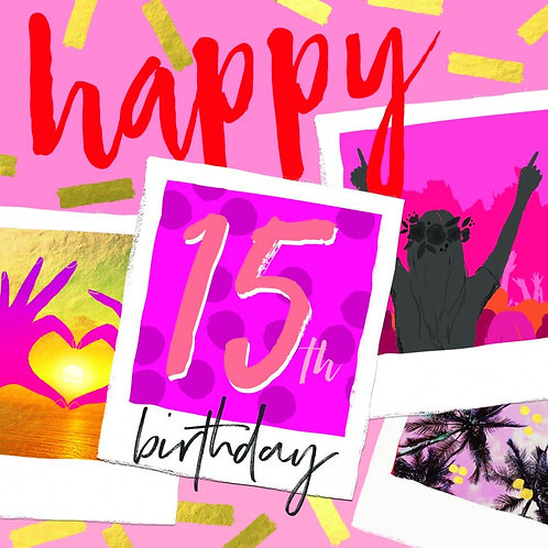 Pink Happy 15th Birthday Card