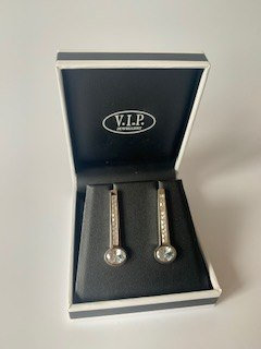 VIP Silver Crystal Drop Earrings