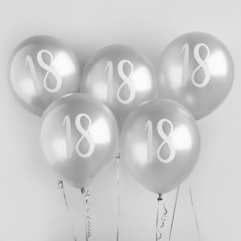 Silver Number 18 Balloons