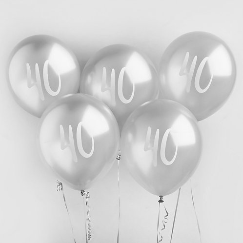 Silver Number 40  Balloons