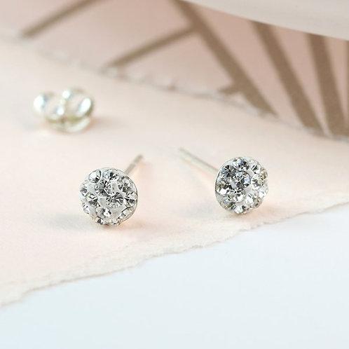 POM - Sterling Silver Clear Crystal Stud Earrings