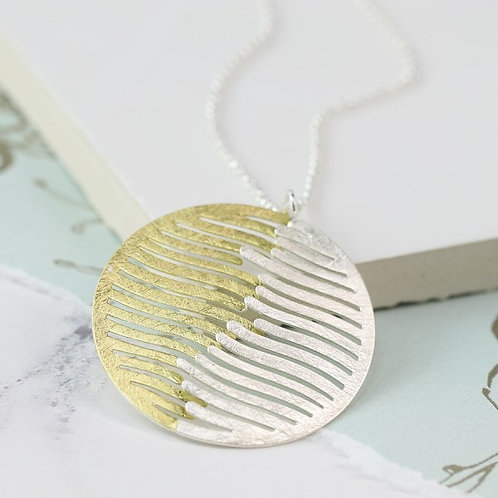 POM - Silver and Gold Plated Wave Disc Necklace