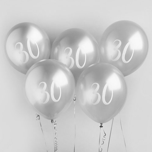 Silver Number 30 Balloons