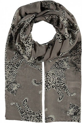 Fraas Taupe Leopard Print Scarf