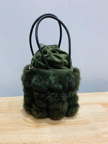 Khaki Faux Fur Handbag
