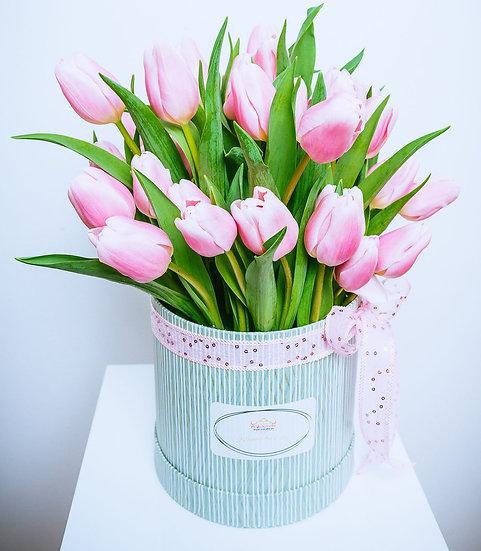 Valentine's Day 30 Pink Tulip Stems Gift Box