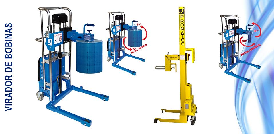 Virador de bobinas, transportador de bobinas, carro virador de bobinas