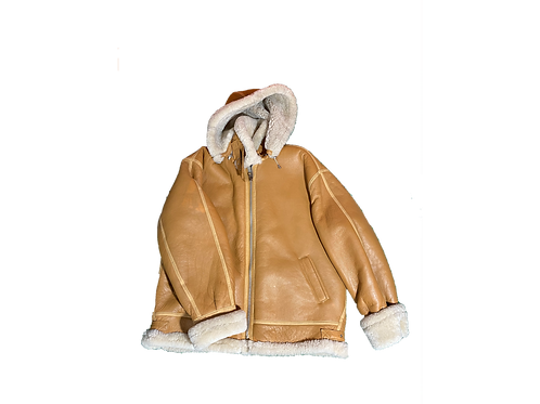 Tan Leather Shearling Lined Coat