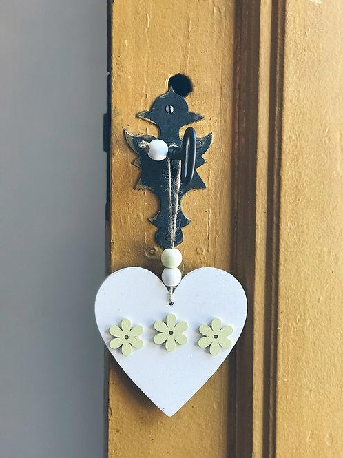 """Pingente Decorativo """"Coração Branco"""""""