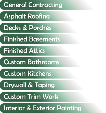 remodeling services that includes rooing, decks, and bathrooms