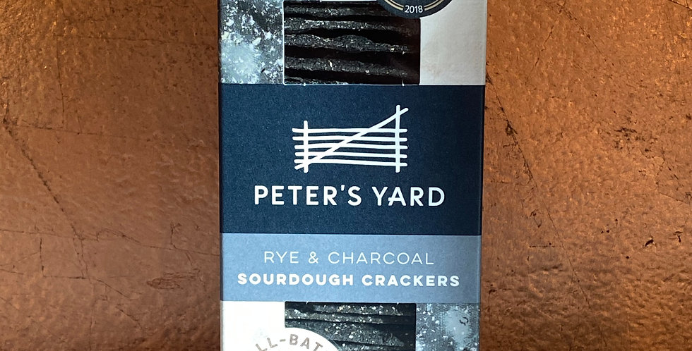 PETERS YARD RYE & CHARCOAL SOURDOUGH CRACKERS