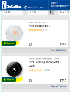 SocalGas® rebate-approved smart thermostats list