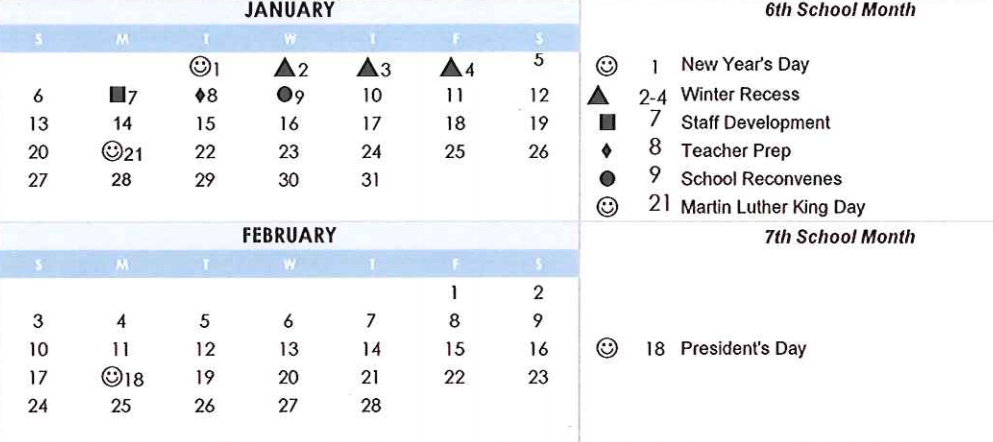 Simi Valley Unified School District Calendar January February 2019