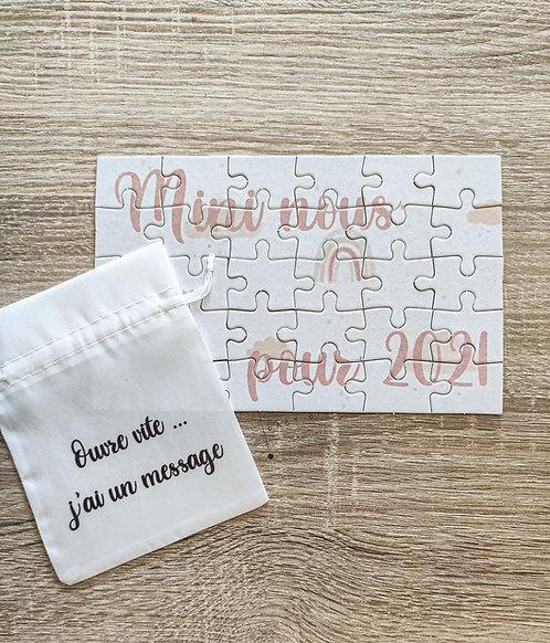 Puzzle personnalisé (avec son petit pochon)