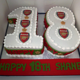 Arsenal themed 18th number cake