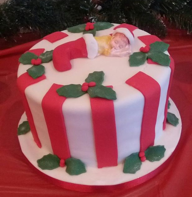 Baby shower at Christmas time cake