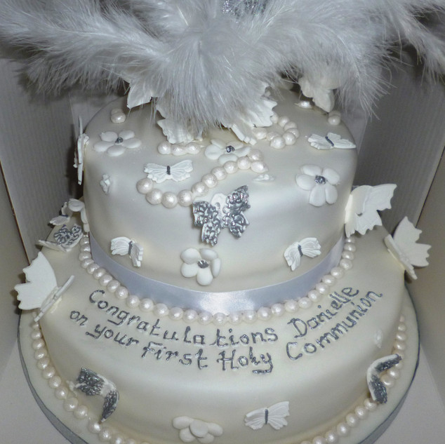 Butterflies and feathers design holy communion cake