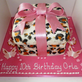 Animal print parcel birthday cake