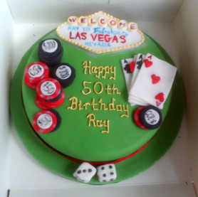 Las Vegas themed 50th birthday cake