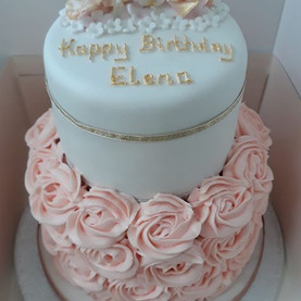 2 tier rose themed birthday cake