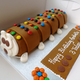 Colourful caterpillar birthday cake