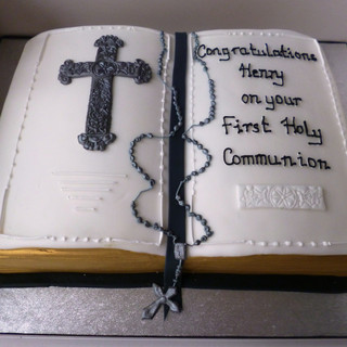 Open book communion cake